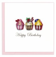 "6"" x 6"" Quilling Birthday Cupcakes Greeting Card"