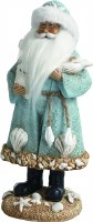 "12"" Light Blue Santa with shells Resin Figurine"