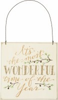 """8"""" Square 'It's the Most Wonderful Time of The Year' Gold Holiday Decorative Hanging Plaque"""