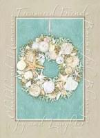 "8"" x 6"" Box of 18 Sea Life Wreath & Words Christmas Greeting Cards"