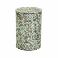 "20"" Round Aqua & Mother of Pearl Mosaic Stool"