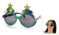 "6"" Green Glitter Novelty Christmas Tree Sunglasses"