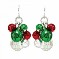 Red, Green and Clear Bells Drop Earrings