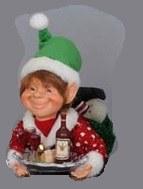 "6"" Elf with Wine Tray Figurine"