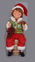 """11"""" Elf with Wine Barrel Figurine"""