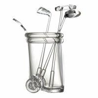"""5"""" Clear Acrylic Golfbag with 3  Golf Club Stirrers"""
