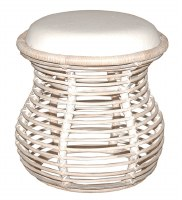 "20"" Round Natural White Rattan Stool"