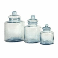 "11"" Set of 3 Clear Bubble Glass Canister Set"