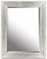 """34"""" x 26"""" Distressed Silver Finish Bevelled Frame Mirror"""