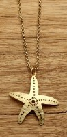 """18"""" Etched Gold Openwork Starfish Chain Necklace"""
