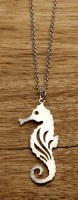 """18"""" Etched Silver Openwork Seahorse Necklace"""