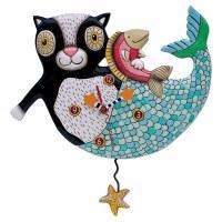 """12"""" Multicolor Mercat with Fish Pendulum Clock"""
