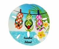 "3"" Sanibel Island Flip Flop Sand Dollar Resin Magnet"