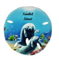"3""  Sanibel Island Manatee Sand Dollar Resin Magnet"