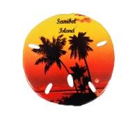 "3"" Sanibel Island Sunset With Palm Tree Sand Dollar Resin Magnet"