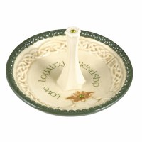 "4"" Beige & Green Celtic Ring Holder Dish"