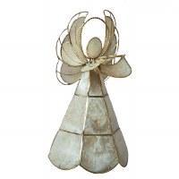 "11"" White & Gold Capiz Shell Wire Angel Figurine"