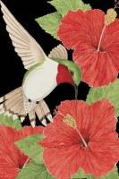 "18"" x 13"" Mini Red Hibiscus and Hummingbird Flag"