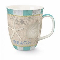 15 oz. Turquoise and White Seashells Wrapped Ceramic Harbor Mug