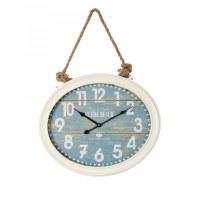 """17"""" x 20"""" Oval Distressed White & Aqua Finish Rustic Beach Clock"""
