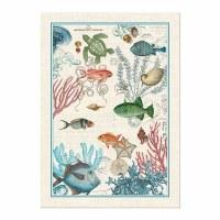 "28"" x 20"" Multicolor Sea Life Kitchen Towel"