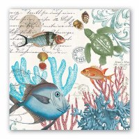 "7"" Square Multicolor Sea Life Luncheon Napkins"