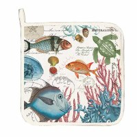 "9"" Square Multicolor Sea Life Quilted Cotton Pot Holder"