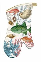 "14"" Multicolor Sea Life Quilted Cotton Oven Mitt"