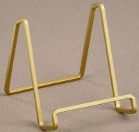 """4"""" Square Gold Metal Wire Plate Stand"""