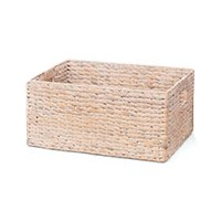 "17"" Whitewashed Rectangular Woven Hyancinth Handed Basket"