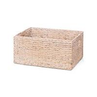 "15"" Whitewashed Rectangular Woven Hyancinth Handed Basket"