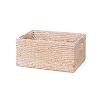 "13"" Whitewashed Rectangular Woven Hyancinth Handed Basket"