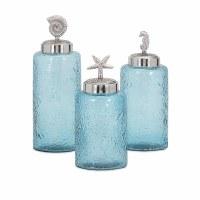 "13"" Set of 3 Sky Blue and Silver Sea Life Lidded Jars"