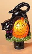 "6"" Black Cat and Pumpkin Night Light"