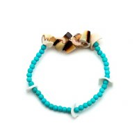 Seashells and Turquoise Bead Stretch Bracelet