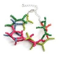 "9"" Multicolor Wood Bead Coral Bracelet"