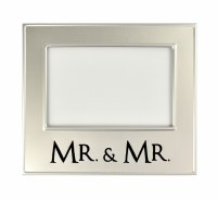 "4"" x 6"" Silver Metal Mr. and Mr. Photo Frame"