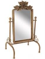 "16"" Distressed Gold Finish Iron 3 Flower Vanity Mirror"