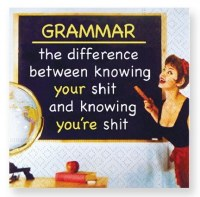 "5"" Square Grammar The Difference Beverage Napkins"