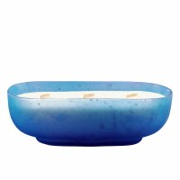 """10.5"""" Frosted Blue Cypress and Sea 3 Wick Glass Boat Candle"""