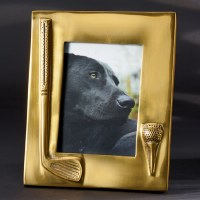 "5"" X 7"" Gold Golf Club and Tee Picture Frame"