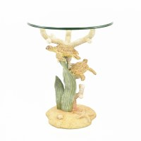 "19"" Round Glass Sea Turtle Side Table"