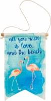 "10"" x 6"" Love and The Beach Flamingos Canvas Banner"