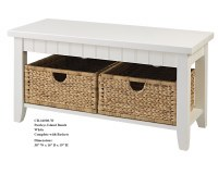 "38"" White Pawley's Island Bench with Baskets"