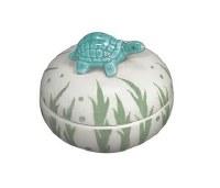 """3"""" Round Aqua Turtle Porcelain Box"""