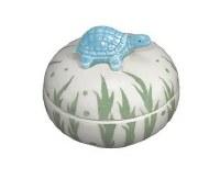 "3"" Round Light Blue Turtle Porcelain Box"