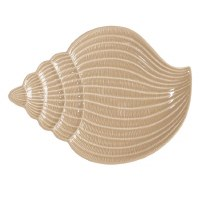 """12"""" Sand Glazed Textured Ceramic Conch Shell Plate"""