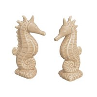 """5"""" Set of 2 Sand Ceramic Seahorse Salt and Pepper Shakers"""