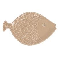 "12"" Sand Textured Ceramic Fish Platter"