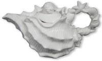 "6"" White Shell Ceramic Teapot"